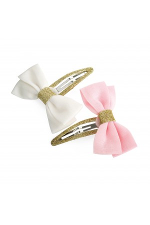 Σετ 2 τσιμπιδάκια με φιόγκους λευκό&ροζ