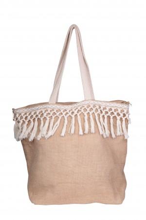 Υφασμάτινη τσάντα με κρόσσια - Μπεζ