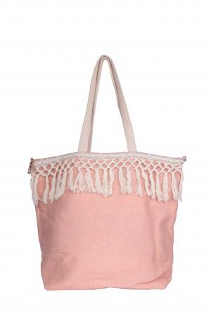 Υφασμάτινη τσάντα με κρόσσια - Ροζ