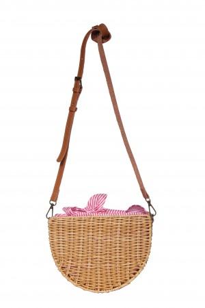 Ψάθινη τσάντα ώμου με ριγέ ύφασμα - Κοραλί