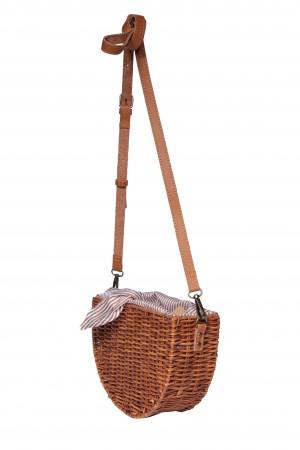 Ψάθινη τσάντα ώμου με ριγέ ύφασμα -Καφέ