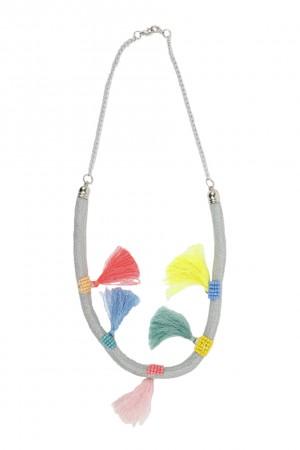 Αλυσίδα μάσκας με πολύχρωμες φούντες -  Ασημί