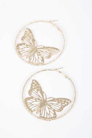 Σκουλαρίκια κρίκοι πεταλούδες από μέταλο- Χρυσό