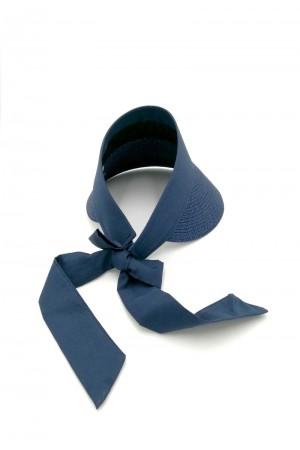 Καπέλο visor με δέσιμο με κορδέλα - Μπλε σκούρο