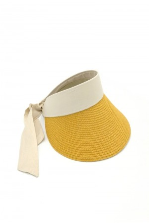 Καπέλο visor με δέσιμο με κορδέλα - Κίτρινο