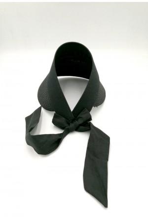 Καπέλο visor με δέσιμο με κορδέλα - Μαύρο