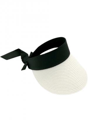 Καπέλο visor με δέσιμο με κορδέλα - Λευκό