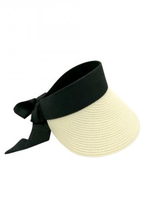 Καπέλο visor με δέσιμο με κορδέλα - Εκρού