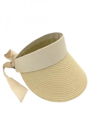 Καπέλο visor με δέσιμο με κορδέλα - Μπεζ