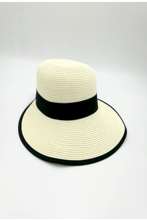 Καπέλο με κορδέλα - Εκρού