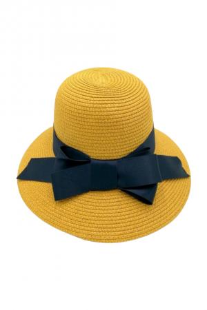 Καπέλο με φιόγκο- Κίτρινο