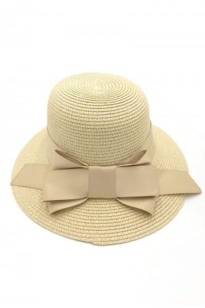 Καπέλο με φιόγκο- Μπεζ