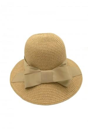 Καπέλο με φιόγκο- Καμηλό