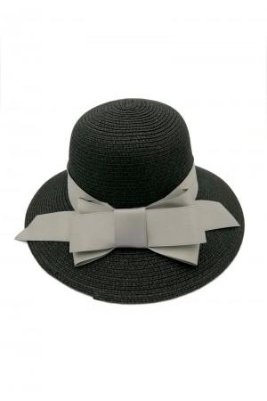 Καπέλο με φιόγκο- Μαύρο