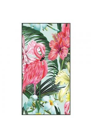 Πετσέτα θαλάσσης με φλαμίγκο και λουλούδια 170*90