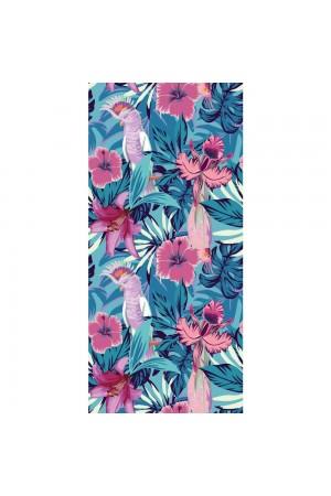Μπλε πετσέτα θαλάσης με λουλούδια και πουλιά 170*90