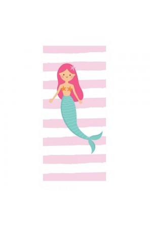 Λευκή/ροζ ριγέ πετσέτα θαλάσσης με γοργόνα, 150*70
