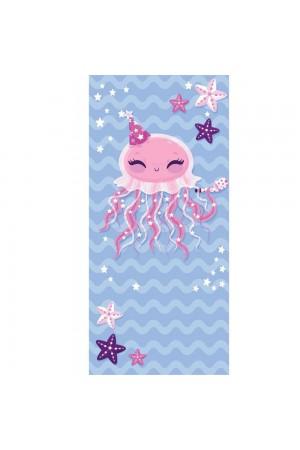 Γαλάζια πετσέτα θαλάσσης με print χταπόδι, 150*70