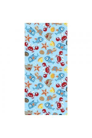 """Μπλε πετσέτα θαλάσσης με print """"ocean"""", 150*70"""