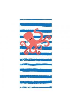 Λευκή/μπλε ριγέ πετσέτα θαλάσσης με χταπόδι, 150*70