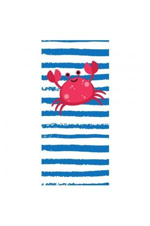 Λευκή/μπλε ριγέ πετσέτα θαλάσσης με κάβουρα, 150*70
