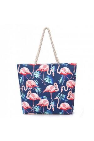 Μπλε τσάντα θαλάσσης με flamingos