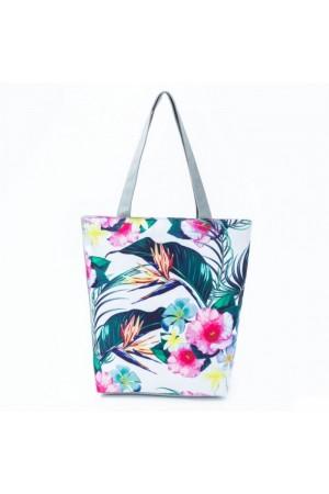 Λευκή φλοράλ τσάντα θαλάσσης