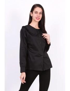 Μαύρο βαμβακερό πουκάμισο με γιακά