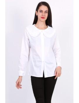 Λευκό βαμβακερό πουκάμισο με γιακά