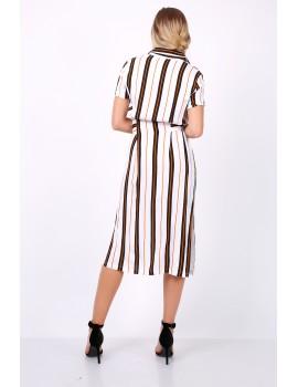 Ριγέ μίντι πουκαμισο-φόρεμα με ζώνη - Λευκό