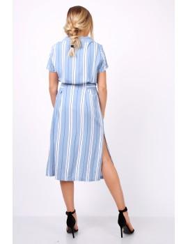 Ριγέ μίντι πουκαμισο-φόρεμα με ζώνη - Μπλε ανοιχτό