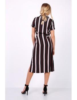 Ριγέ μίντι πουκαμισο-φόρεμα με ζώνη - Μαύρο