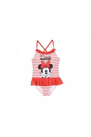 Disney Minnie Mouse Παιδικό Μαγιό ολόσωμο ριγέ με βολάν στη μέση κόκκινο/λευκό