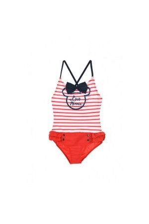 Disney Minnie Mouse Παιδικό Μαγιό ολόσωμο ριγέ κόκκινο/λευκό