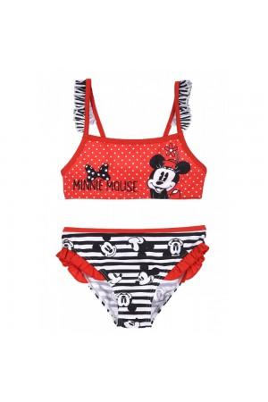 Minnie Mouse Παιδικό Μαγιό Μπικίνι με βολάν κόκκινο/λευκό/μαύρο