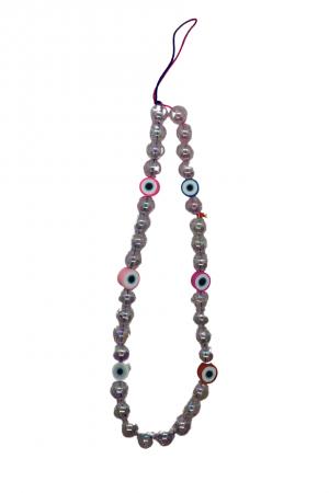 Phone strap με διάφανες χάντρες και ματάκια- Μικρό