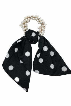 Scrunchie από πέρλες με κοντή ουρά πουά - Μαύρο