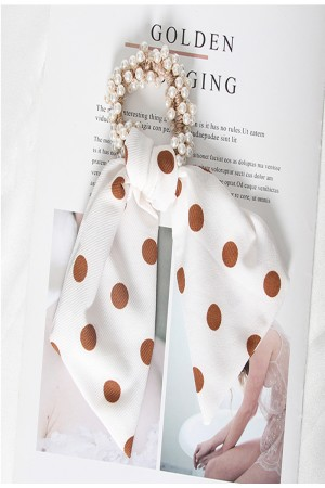 Scrunchie από πέρλες με κοντή ουρά πουά - Λευκό
