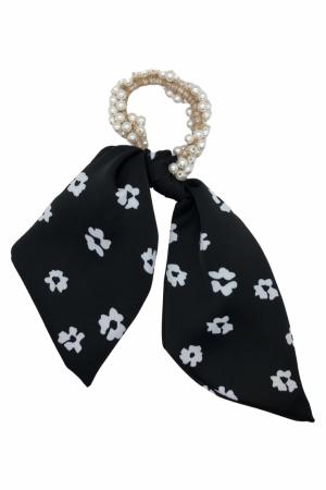 Scrunchie από πέρλες με κοντή ουρά flower print- Μαύρο
