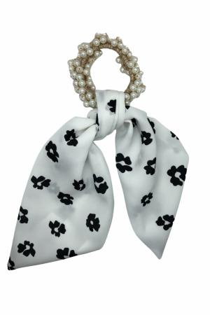 Scrunchie από πέρλες με κοντή ουρά flower print- Λευκό