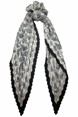 Scrunchie-φουλάρι-κορδέλα με print - Λευκό