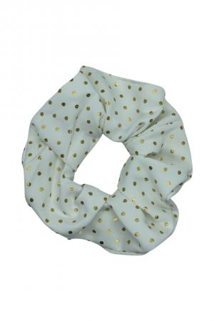 Υφασμάτινο scrunchie με μεταλλιζέ πουά - Λευκό