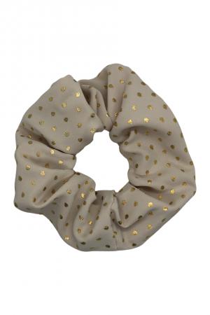 Υφασμάτινο scrunchie με μεταλλιζέ πουά - Nude