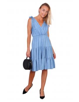 Τζιν αμάνικο φόρεμα με δέσιμο στους ώμους
