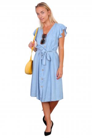 Τζιν φόρεμα chemisier με βολάν στους ώμους