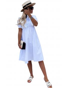Μίντι φόρεμα με γιακά - Λευκό