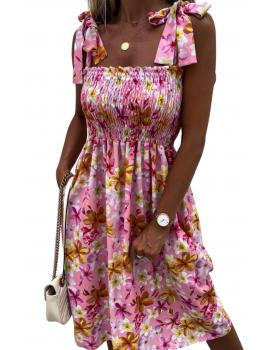 Μίντι φλοράλ φόρεμα με σφηκοφωλιά - Ροζ