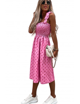 Μίντι πουά φόρεμα με σφηκοφωλιά - Φούξια