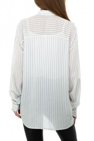 Λευκό ριγέ πουκάμισο με τσέπες