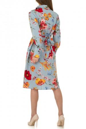 Μπλε ανοιχτό μίντι φλοράλ φόρεμα JCL KL-01118